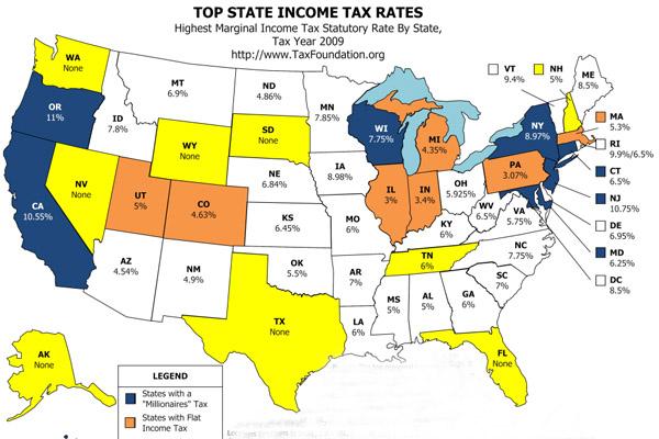 В каком штате поселиться, чтоб не платить подоходный налог в США?